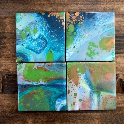 Hexagon Coasters, Alcohol Ink, Fluid Art, Coaster Set, Home