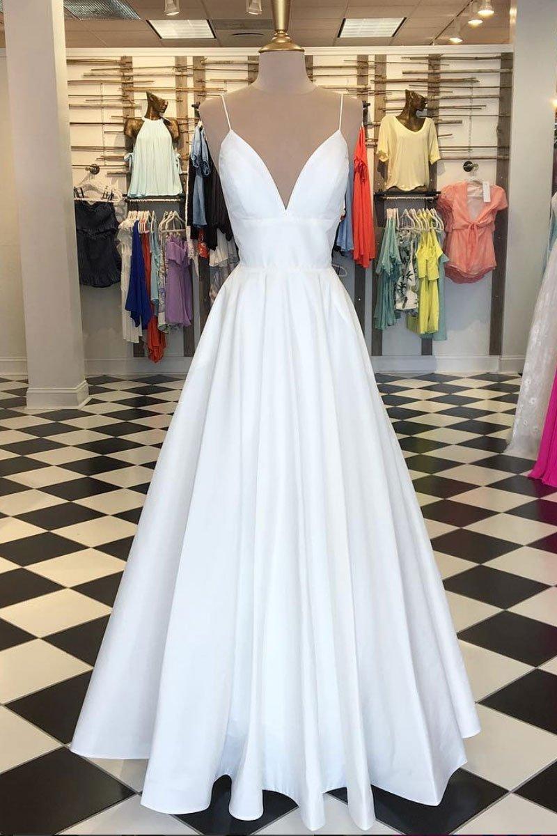 White Satin Formal Dresses