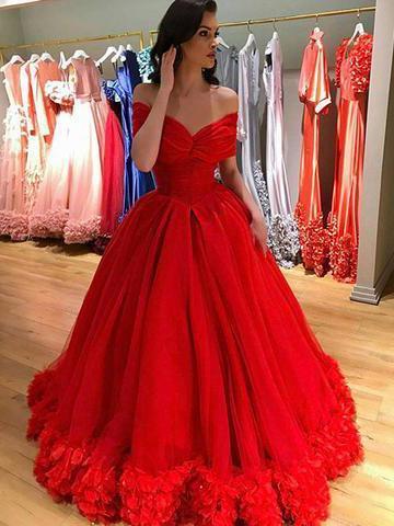e4605c648fa Red Prom Dress Off-the-shoulder Elegant Tulle Prom Dresses Long ...