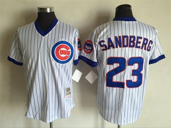 d6c00e7c5 Mens Mitchell Ness 1987 Chicago Cubs  23 Ryne Sandberg White Blue Pinstripe  Coopertown Throwback Jersey · Majesticathletic · Online Store Powered by ...