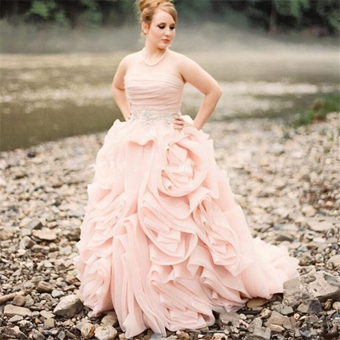 rustic country style pink wedding dresses sexy strapless organza ruffle  plus size country bridal gown elegant beaded garden reception dress from