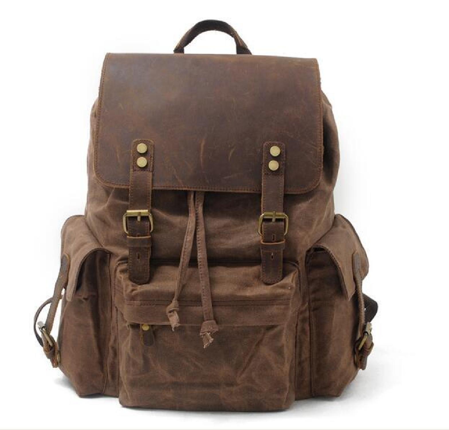 Vintage Men/'s Waterproof Wax Canvas+Real Cow Leather Backpack School Laptop Bag