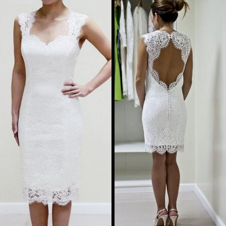 685ee600fd3 White Lace Cap Sleeves Sheath Homecoming Dress With Keyhole Back - Thumbnail  1 ...