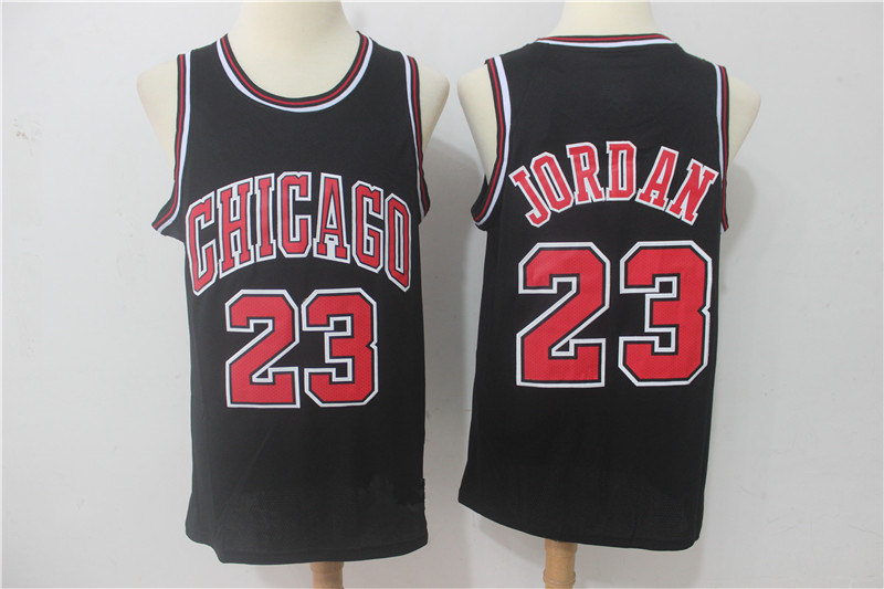 4935d2d2a Men s Chicago Bulls Michael Jordan Black Replica Swingman Jersey ...