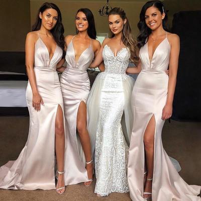 160a7c6fb5a7 Elegant sexy spaghetti strap shinning split mermaid long bridesmaid dresses  ,799
