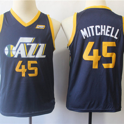 44be30451b7 Youth utah jazz donovan mitchell fanatics branded navy fast break replica  jersey - icon edition