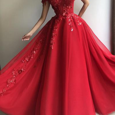 350f147a3 Sexy red a-line prom dresses tulle evening dress long slit party gowns  cheap d4940