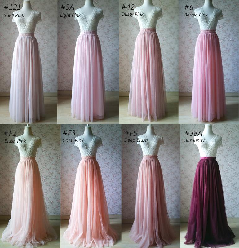 cd2b078d12b2 Blush Pink Floor Length Tulle Skirt Pink Wedding Maxi Bridesmaid Tulle Skirt  Custom