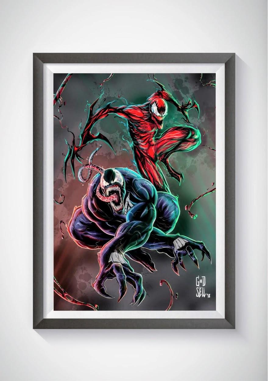 Venom and carnage poster prints marvel wall art mcu superhero posters spiderman venom geek gifts for men venom movie enter the spider verse from