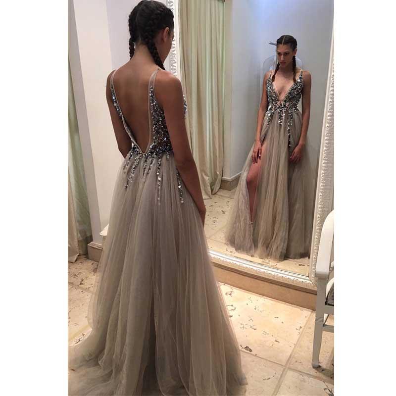 41893dda2e Backless Rhinestone prom dress Tulle prom dresses Long Sexy prom ...