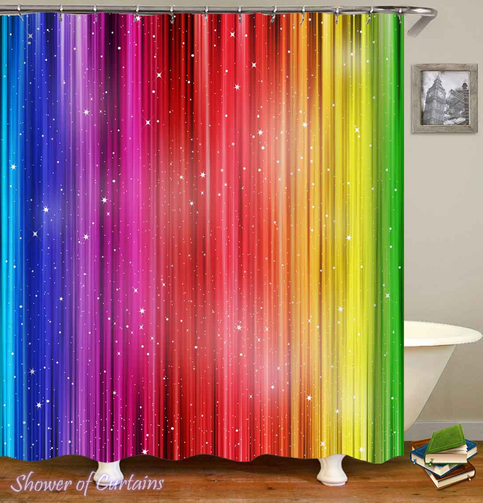 Shining Rainbow Colors Shower Curtain Hxtc0117 On Storenvy