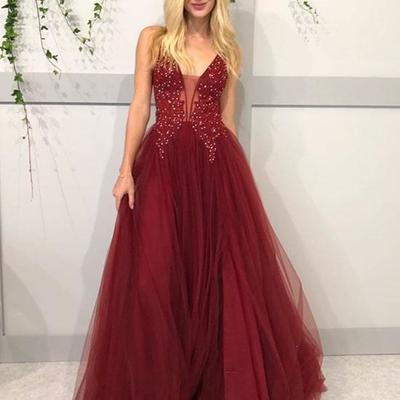 8877d1dfe25 Gorgeous deep v neck burgundy long prom dresses beading evening dresses