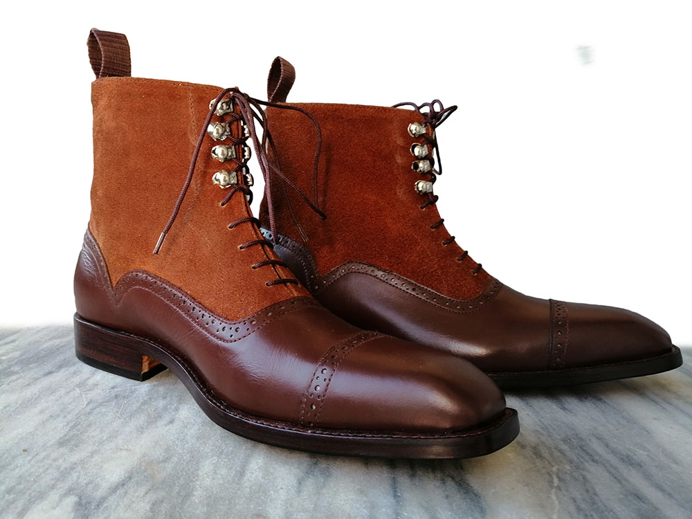 c9698b1d54a46 Handmade Men Tan Brown Leather Suede Boot, Men Ankle High Lace Up Cap Toe  dress Formal Boot on Storenvy
