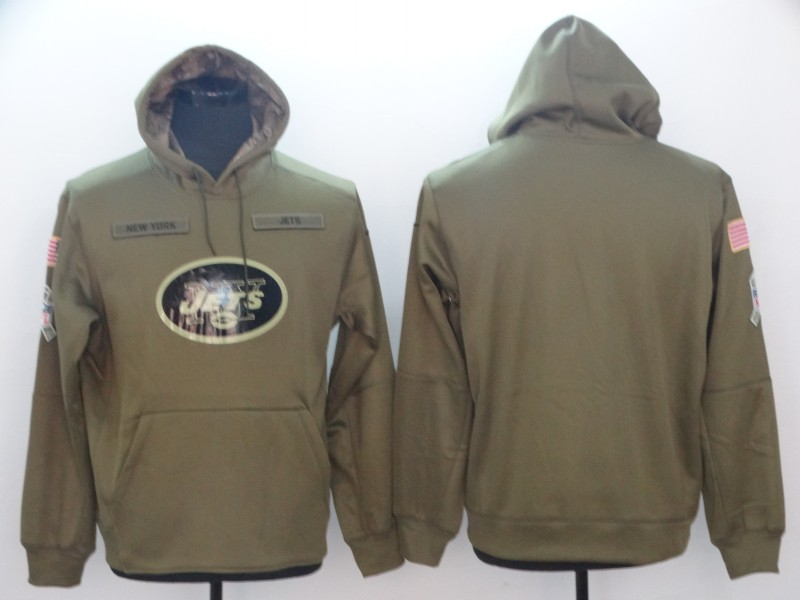 f9ea87e86 Men s New York Jets Olive Salute to Service Sideline Therma Performance Pullover  Hoodie - Green