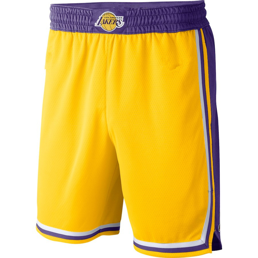 3aa7c60d3f32 Men s Los Angeles Lakers Gold 2018 19 Icon Edition Swingman Shorts ...