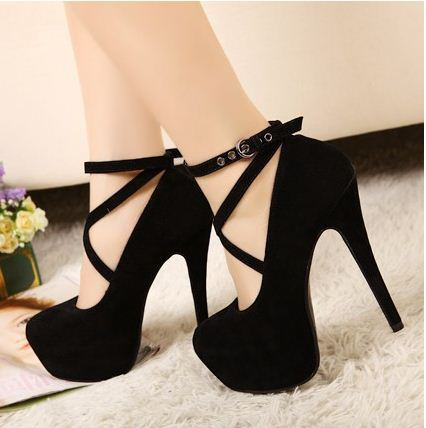 Women's Sexy Pumps black Vintage Red/Black Bottom Platform Strappy ...