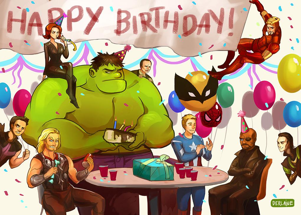 Открытки для, с днем рождения открытка мстители