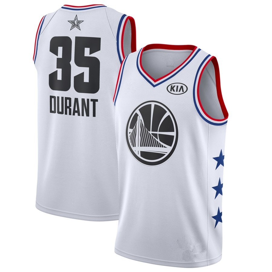 pretty nice 8f2c8 90451 Men's Golden State Warriors Kevin Durant White 2019 All-Star Game Finished  Swingman Jersey Basketball Jersey from haosjers
