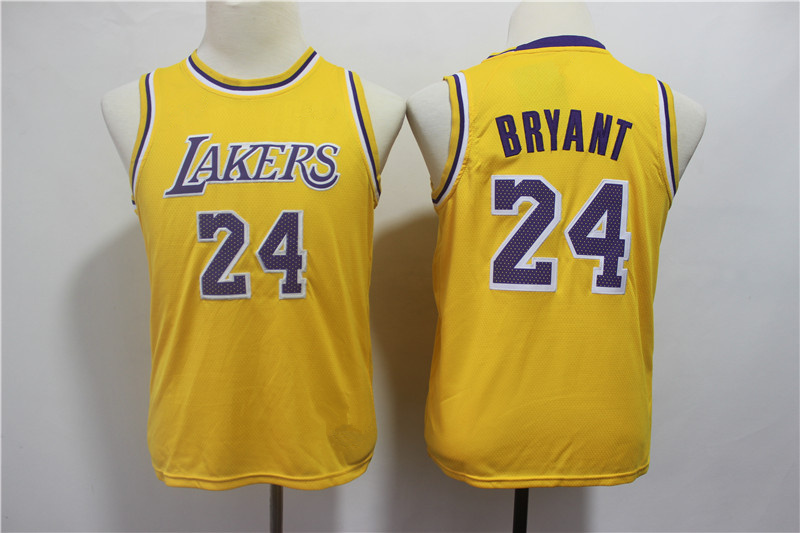 1de1d9da5845 Youth Los Angeles Lakers 24 Kobe Bryant Yellow Jersey · vsport ...