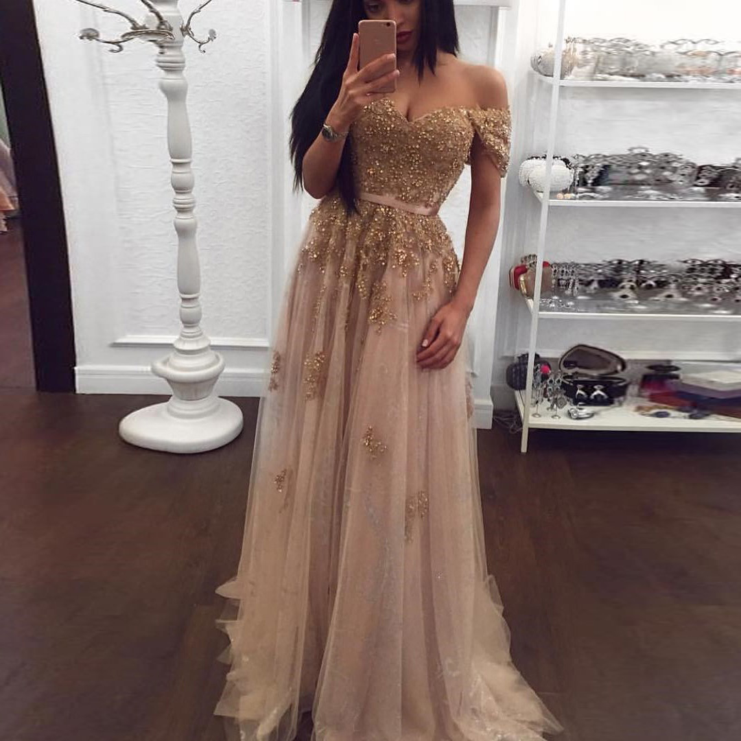 4f332a682e9c ... 2019 Gold Off The Shoulder Formal Evening Gown Tulle Prom Dress With  Beaded Lace Appliques Top