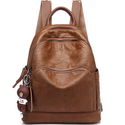 ac47e02c86c2 Retro brown three zippers british style college bag school backpack