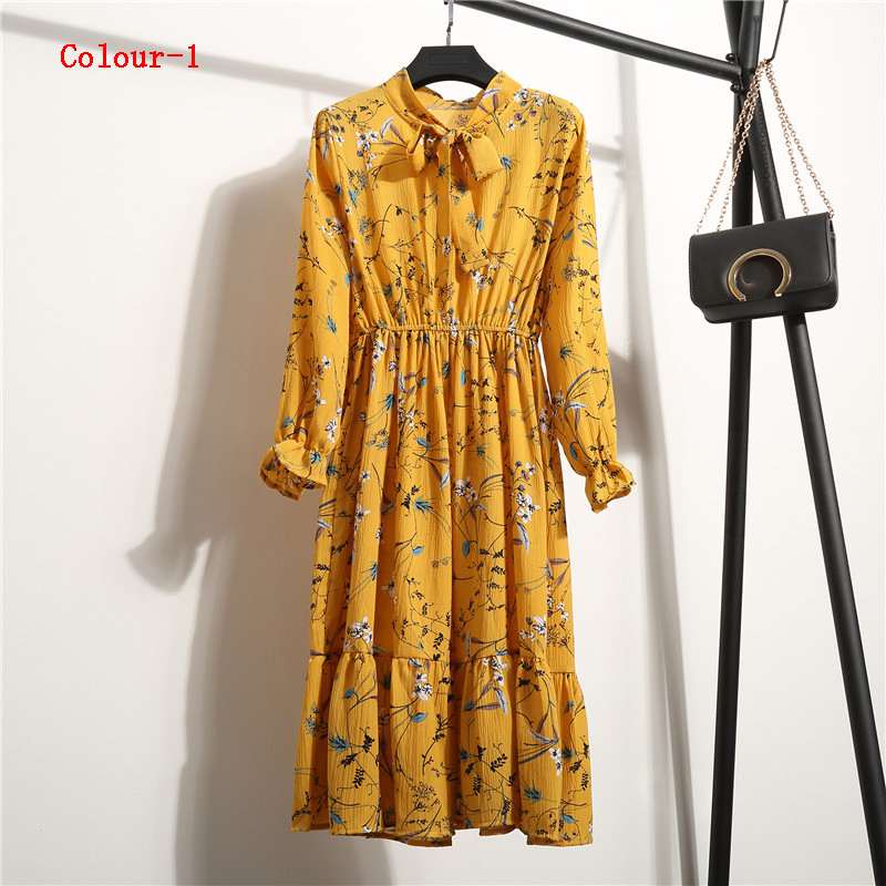 1595b945773b6 2019 Spring Autumn Women's Chiffon Dresses Stand Neck With Bow Floral Print  Ruffles Vestido Long Sleeve Elegant Cute Dress from andyube