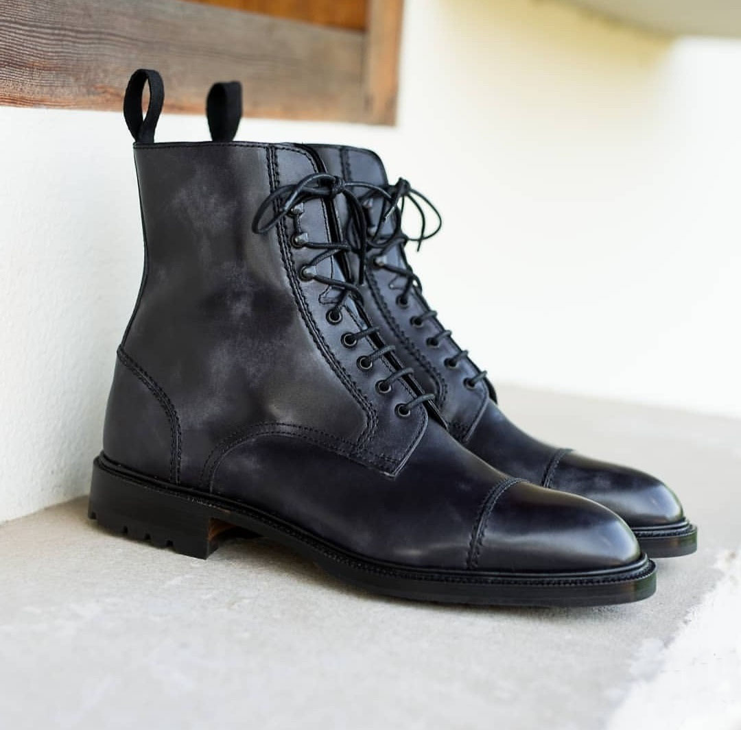 Ankle high Black Leather Casual Lace Up