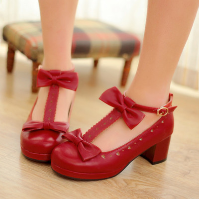 ddc6a28131f Free shipping japanese white cute bow high heels shoes