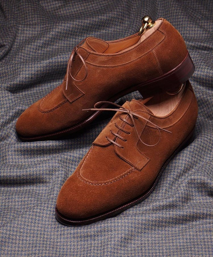 3d08850edbe95 Handmade Men's Classic Shoes,Men's Tan Color Suede Lace Up Formal Shoes