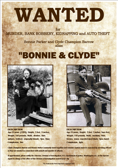 u0026quot bonnie and clyde u0026quot  fantastic retro style wanted poster