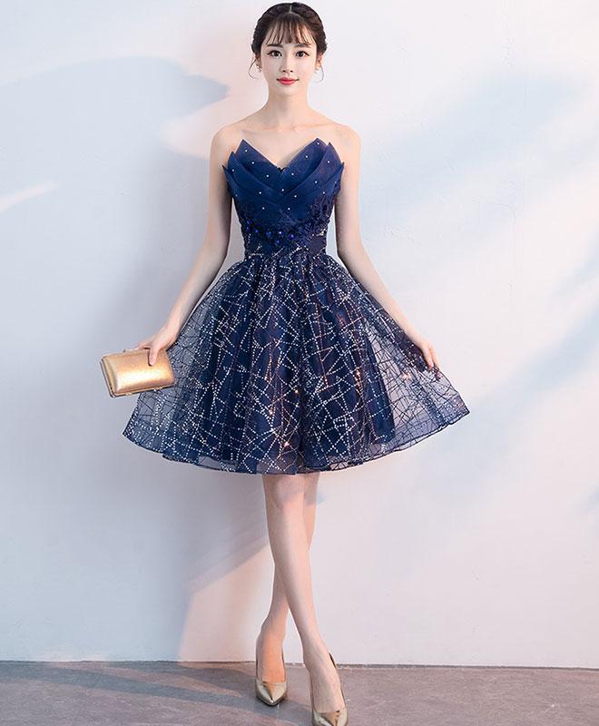 e0d2cfc18e6 Dark blue v neck tulle sequin short prom dress, blue homecoming dress