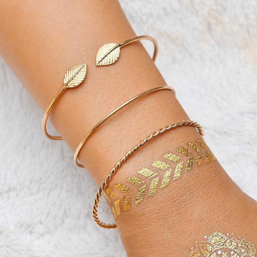 Fabulous Bangle Bracelet Hand Leaf Steel Jewelry Screw Wristlet Wedding  Bracelets Cuff Stainless 3pcs Open Wristband Women sold by wzg14165