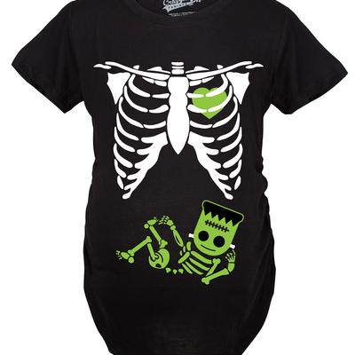 fcecea50 ... T shirt · Maternity frankenstein baby bump fall film movie cute  pregnancy tshirt (black)