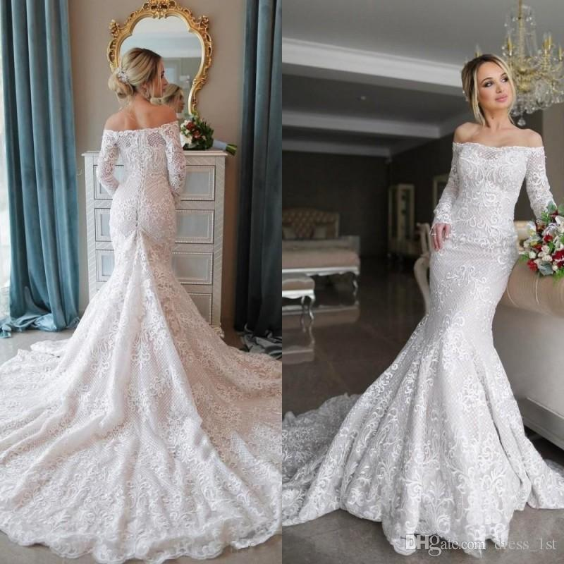 Off Shoulder Mermaid White Lace Long Wedding Dress With Long Sleeves