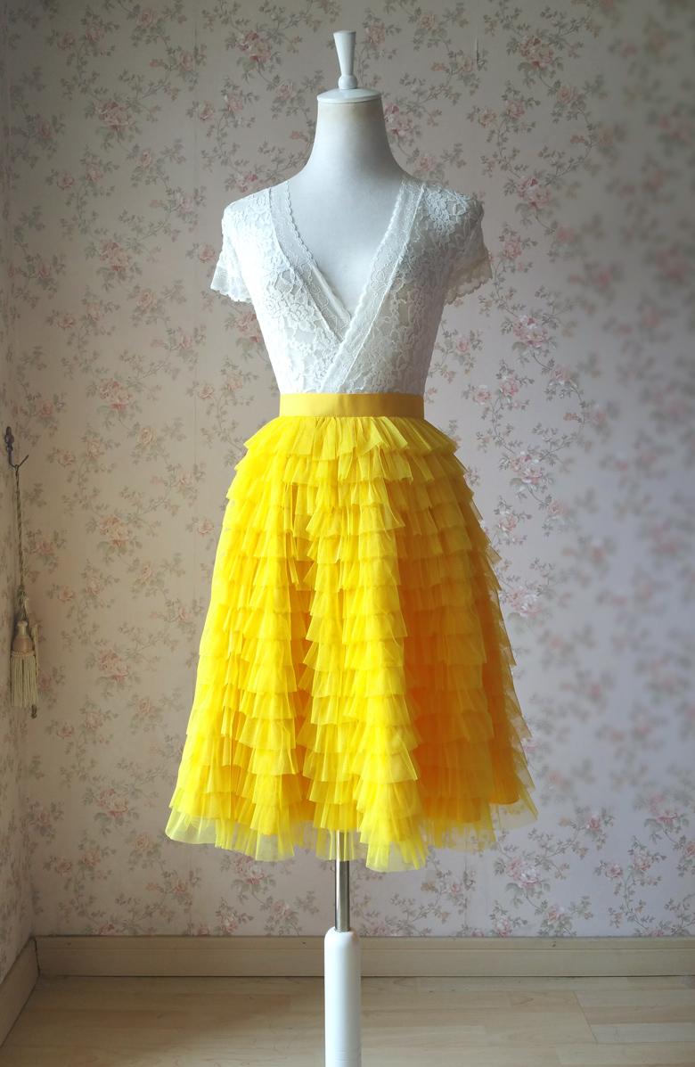 Yellow Tiered Tulle Skirt Midi Yellow Tulle Skirt Yellow ...