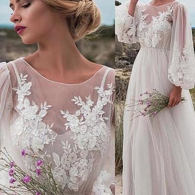 cff658d3fc Lantern sleeves boho bride dress lace tulle summer weddings
