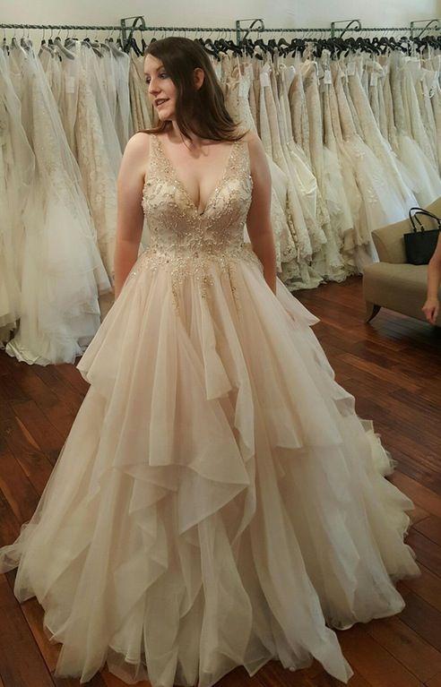Ball Gown Plus Size Wedding Dress,V-neckline Plus Size Bridal Dress from  Sancta Sophia
