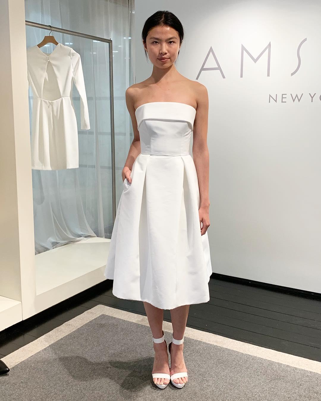 b28b00e0653 Simple Strapless Short White Wedding Dress with Pockets · modsele ...