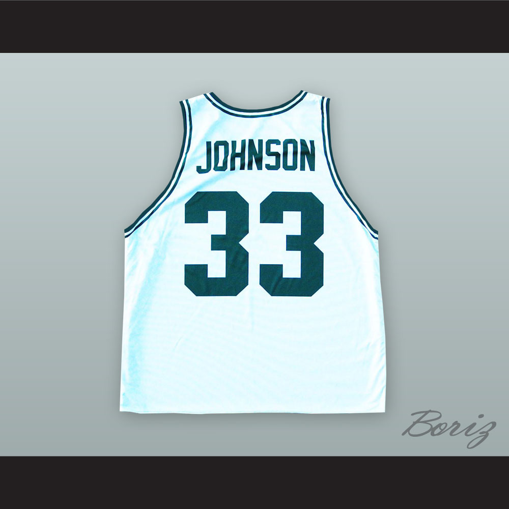 big sale 64ad1 15a38 Magic Johnson 33 Magician State White Basketball Jersey from acbestseller