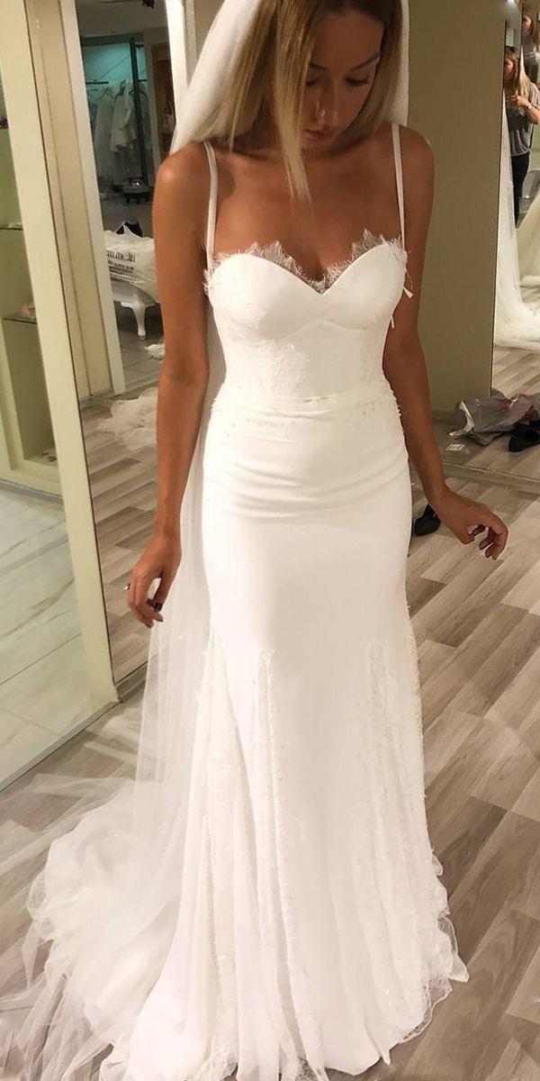 6baa1f6fcc Simple Spaghetti Straps Summer Wedding Dress,Mermaid Boho Wedding Dress