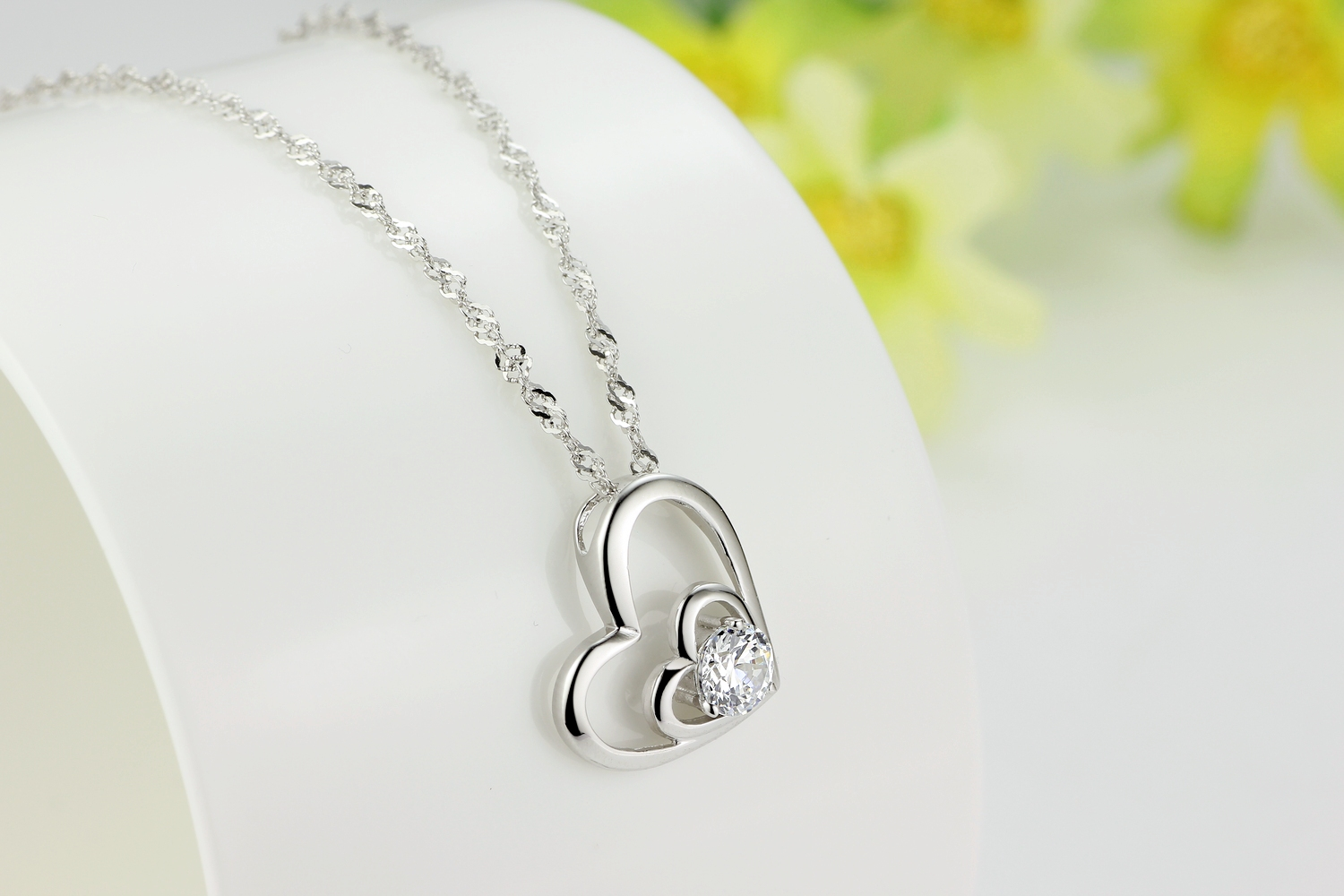 925 sterling silver double love open heart pendant necklace paved 4 small mozeypictures Gallery