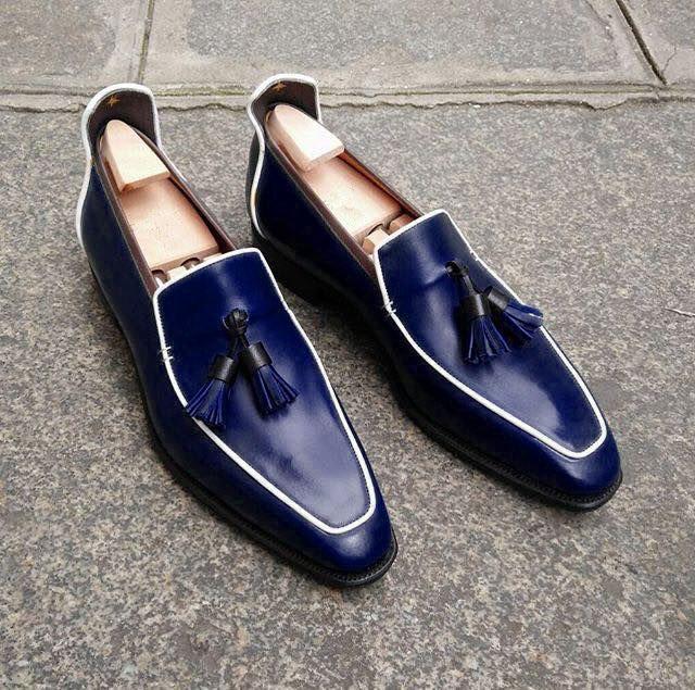 Handmade Men's Loafer Shoes, Navy Blue