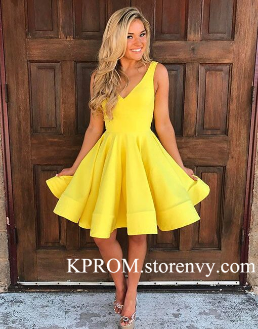 866c6d56e75b Cute A Line Yellow Homecoming Dress,V-Neck Party Dress,Cocktail ...