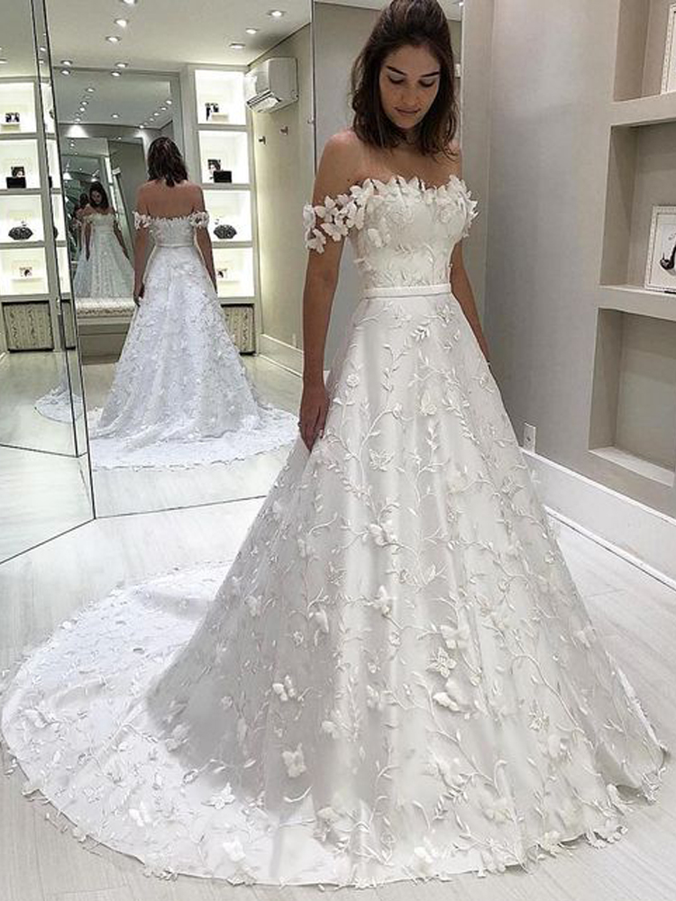Princess A Line Off The Shoulder White Lace Wedding Dresses Bridal Gown Sold By Dressmeet On Storenvy,Cheap Short Wedding Dresses Online