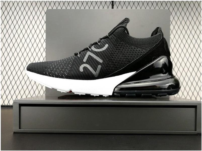 huge discount d9730 3d402 2018 Newest Nike Air Max 270 Flyknit Black White Running Shoes from  BELLDRESS