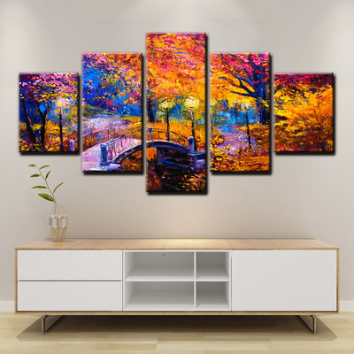 Scenic Abstract Bridge Wall Decor 5 Panel Set On Canvas