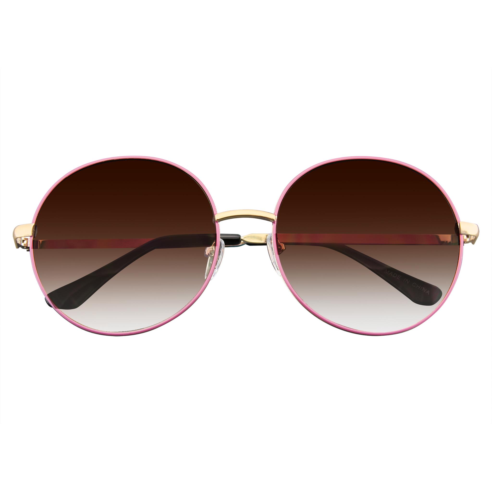 ec25b6936468 Emblem Eyewear - Women's Super Round Oversize Fashion Metal Large Sunglasses