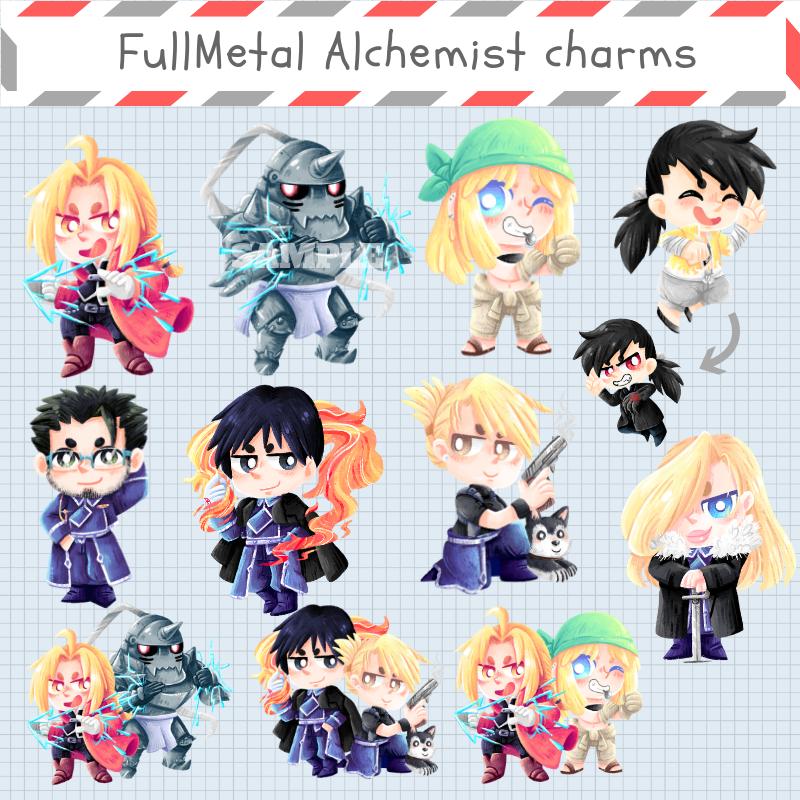 fullmetal alchemist acrylic charms stickers aguichart