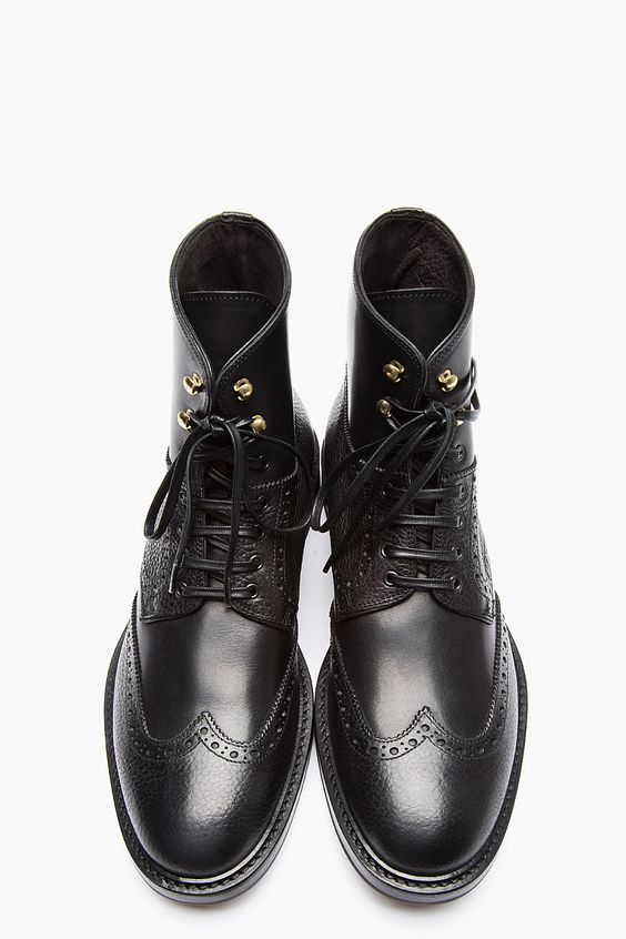 61a879213ac Handmade Men Wing tip brogue black ankle boots, Men black lace up leather  boots from Rangoli Collection