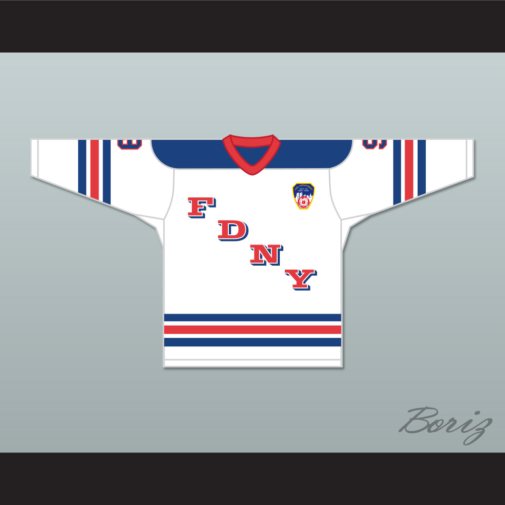 a7a056804f3 FDNY Bravest 9 White Hockey Jersey Design 1 with Patch - Thumbnail 1 ...